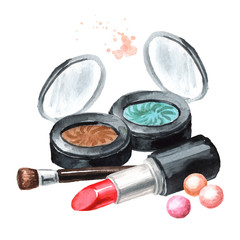 Сosmetic eye shadow and lipstick. Make-up concept. Hand drawn watercolor horizontal  illustration,  isolated on white background