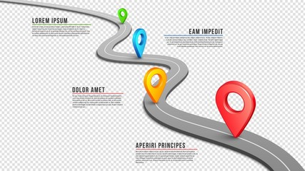 Highway. Winding empty road, GPS pins and infographic elements. Black perspective asphalt way. Vector isolated on transparent pathway illustration. Gps way navigation, journey information data Wall mural