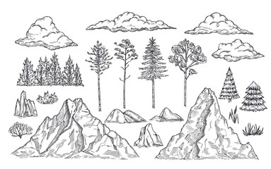 Nature landscape elements. Mount rocks, trees and bush. Sketch isolated park, garden or forest silhouettes. Hand drawn mountains vector set. Illustration rock sketch, landscape mountain Fotobehang