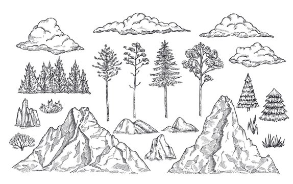 Nature landscape elements. Mount rocks, trees and bush. Sketch isolated park, garden or forest silhouettes. Hand drawn mountains vector set. Illustration rock sketch, landscape mountain