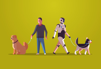 Wall Mural - robotic character and man walking with dogs robot vs human standing together with pets artificial intelligence technology concept flat full length horizontal vector illustration