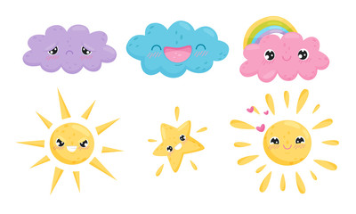Clouds and Celestial Bodies Smiling and Feeling Sadness Vector Set