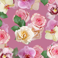 Fototapete - Beautiful floral background of roses and orchids. Isolated