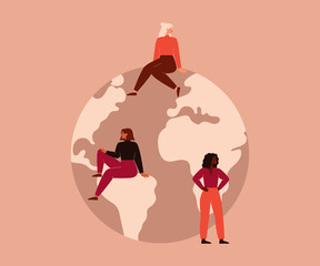 Activist Women of different nationalities and cultures sit on the big globe. Vector concept of the female's empowerment movement and Environment conservation.