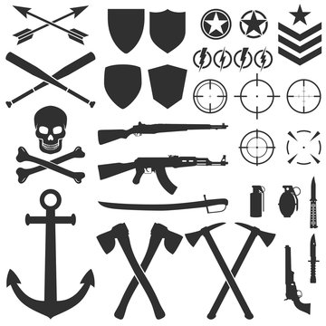 Military symbols and icons. Vector illustration. Army design.