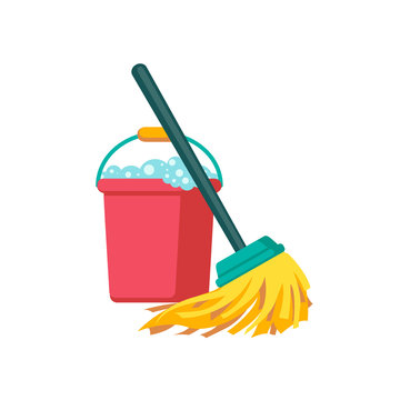 Vector bucket and mop. Cleaning Icon