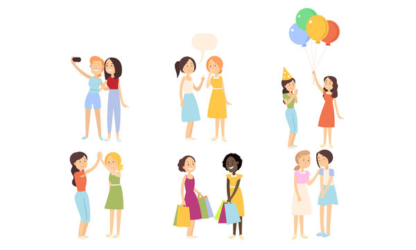 Set of girls best friends in everyday life vector illustration