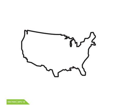 Map usa icon vector logo template