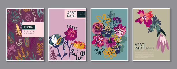 Vector collection of trendy creative cards with hand drawn floral elements, flowers and palnts and different textures. Fotomurales