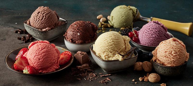 Gourmet summer dessert of artisanal ice cream