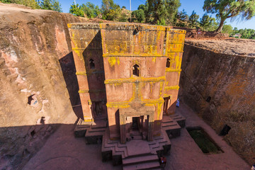 Front view of Rock-Hewn Church Bete Giyorgis in Lalibela, Ethiopia
