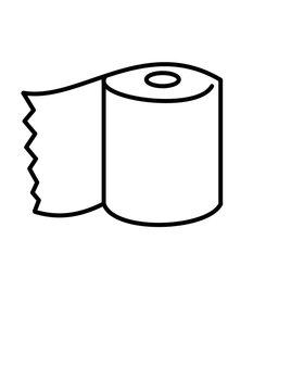 トイレットペーパー1個(線画)