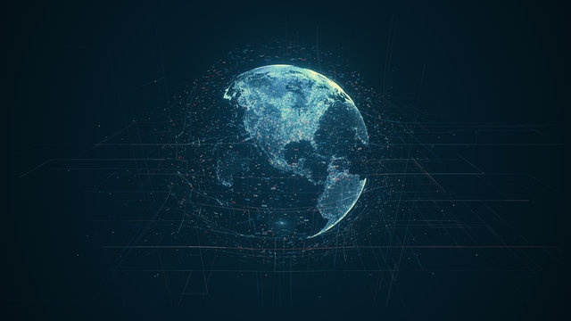 Digital data globe - abstract illustration of a scientific technology data network surrounding planet earth conveying connectivity, complexity and data flood of modern digital age