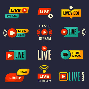 Live stream icon. News or movie broadcasting play tv badges collection vector set. Live news, stream web broadcast, tv media streaming illustration