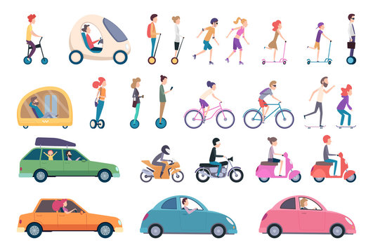City transport. People driving cars scooter bike hoverboard segway urban activity people lifestyle vector set. Urban active, drive and scooter, ride transportation illustration