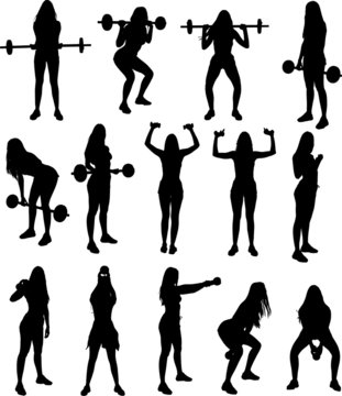 Silhouette set of gym fitness weight lifting exercises young attractive woman. Vector illustration.