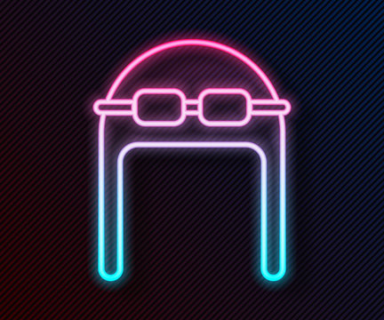 Glowing neon line Aviator hat with goggles icon isolated on black background. Pilot hat. Vector Illustration
