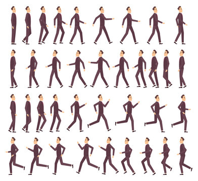 Running man. Businessman fast running keyframe animation 2d cartoon flat sprite for game profile side view vector character. People animation run, movement and action character loop illustration