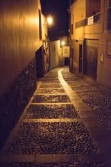 Canvas Prints Narrow alley narrow street at night