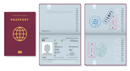 Fototapeta Passport template. Official id document visa sapling pages cards legal travel badges vector pictures. Illustration official passport id, european union document obraz