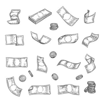 Hand drawn money. Argent coins finance capital gold investment symbols vector collection. Illustration investment money, banking drawing currency cash