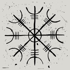 Aegishjalmur. Helmet of Terror. Vector amulet and viking protection symbol
