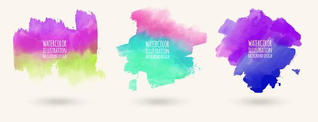 Hand painted watercolor elements set, abstract watercolor background Fotomurales