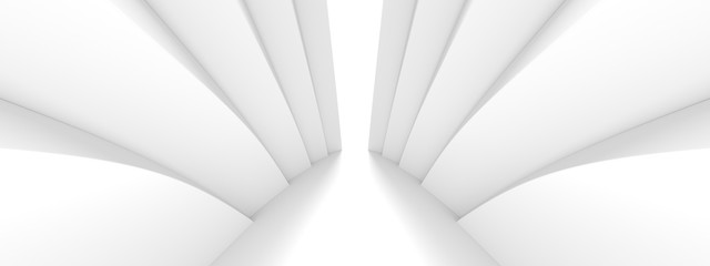 Fotobehang - Abstract Architecture Background. Minimal Graphic Design. White Geometric Wallpaper