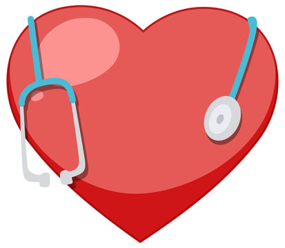 Big red heart and giant stethoscope on white background