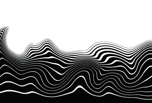 Modern vector transition from black to white with wavy lines for banners, websites, posters, business cards, stickers, covers, prints on clothes. Black and white vector background.
