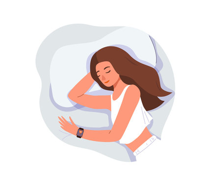 Sleep control concept vector background isolated on white. Young woman sleeping at home on bed with smart watch on her hand. View from above, close-up