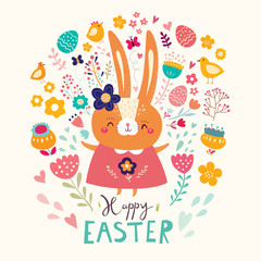 Fototapete - Happy easter card. Holiday easter illustration in cartoon style. Stylish holiday background.