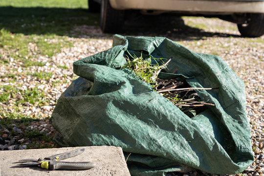 gardening trash bag and shears