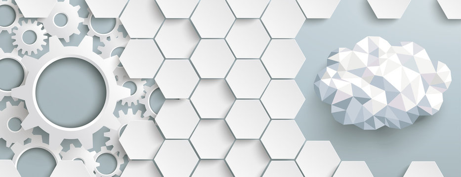 White Hexagon Structure Gears LowPoly Cloud Header