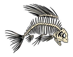 Fish skeleton logo eat food dish recipe