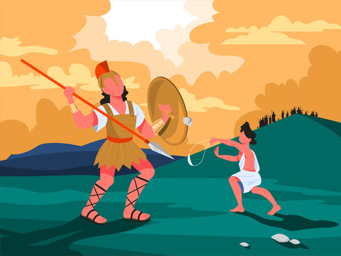 Bible narratives about David and Goliath. Christian bible character.