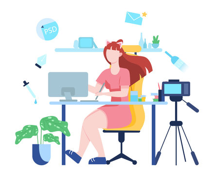 Vector illustration of video blogging concept