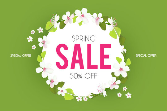 Spring sale. Seasonal offer poster template with flowers. Realistic apple blossom.