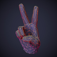 3D low poly human hand showing victory or freedom gesture on dark background. Polygonal hand with raised up fingers show number two. Positive emotion and business success concept. Vector illustration.