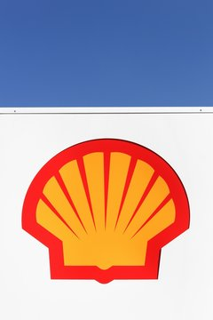 Horsens, Denmark- April 2, 2018: Shell logo on a gas station. Shell is an Anglo-Dutch multinational oil and gas company headquartered in the Netherlands