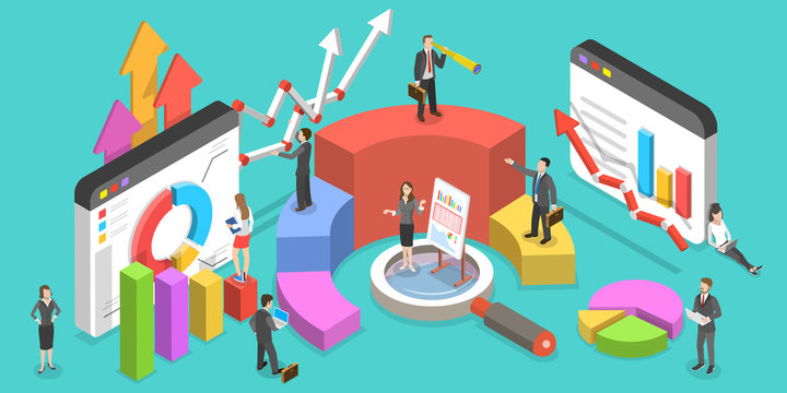 Isometric Vector Concept of Business Environment. People are Interacting With Graphs, Charts and Other Statistical Data. Big Data Analysis.