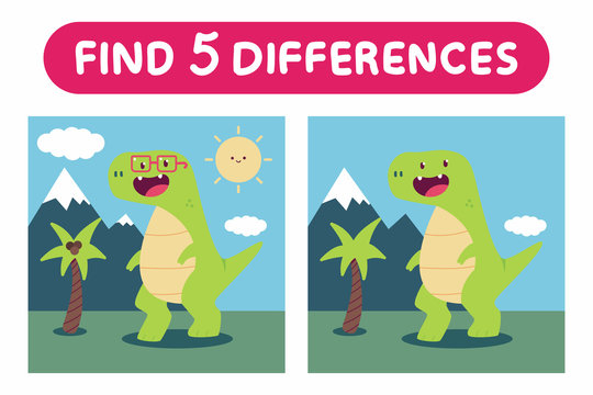 Find five differences. Education game with cute dinosaurs vector cartoon illustration.