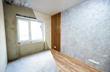 Kitchen before and after renovation works, new window before the final works, wooden texture on the wall and floor, grey wallpaper Wall mural