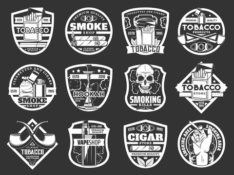Cigarette and cigar badges of tobacco and smoke shop vector design. Cigarette packs, lighters and smoking pipes, skull, tobacco leaves and ashtray, vape, hookah and cigar cutter monochrome icons