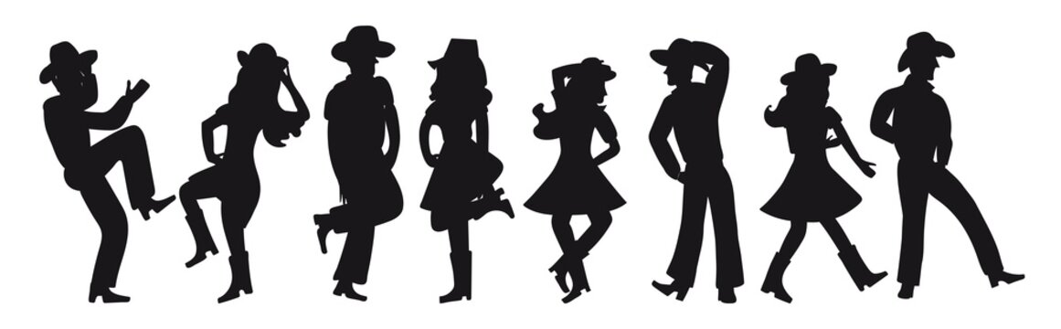 Silhouette of a couple dancing a country western on a white isolated background. All girls and boys are dancing an incendiary American dance. Four funny pairs of people in black. Cowboy hats, boots