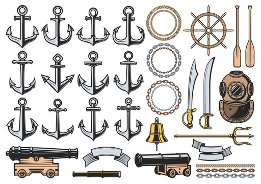Nautical icons with vector sea ship anchors, ropes and chains, sail boat helm, bell and vintage diver helmet, old naval cannon, paddles, trident and ribbon banners. Marine heraldic symbols design