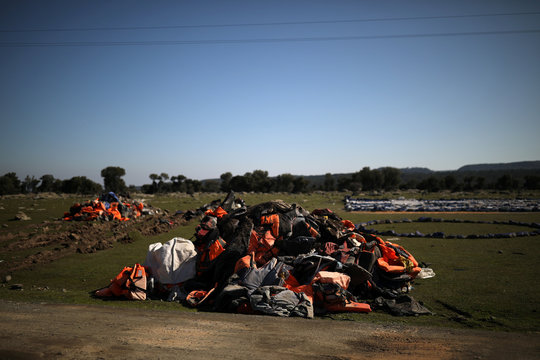 A pile of life jackets is seen in the spot where the government plans to build a new migrant detention centre, in the area of Karava on the island of Lesbos