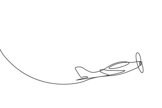 Small plane taking off in continuous line art drawing style. Private airplane flight minimalist black linear sketch isolated on white background. Vector illustration