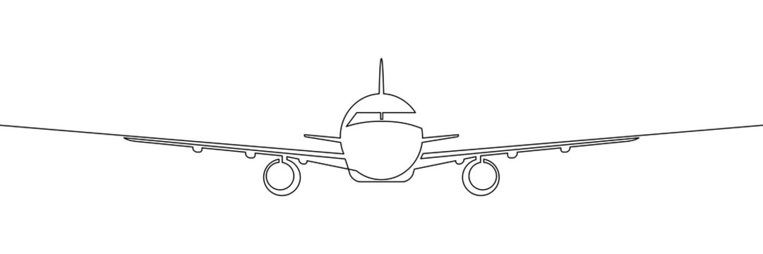 Front view of passenger plane flying. Traveling by airplane. Continuous line art drawing style. Black linear sketch isolated on white background. Vector illustration