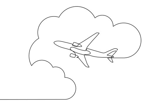 Plane flying in the sky among clouds in continuous line art drawing style. Traveling by airplane. Black linear sketch isolated on white background. Vector illustration